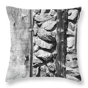 Old Wood Door Window And Stone In Black And White Throw Pillow