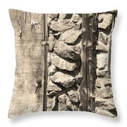 Old Wood Door Window And Stone In Sepia Black And White Throw Pillow