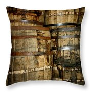 Old Wood Whiskey Barrels Throw Pillow