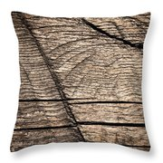 Old Wooden Board With Notches By Sawing Throw Pillow
