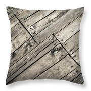 Old Wooden Boards Nailed Throw Pillow