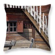 Old Wooden Cabin Log Detail Throw Pillow