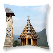 Old Wooden Church And Bell Tower Throw Pillow