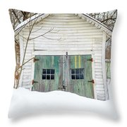 Old Wooden Garage In The Snow Woodstock Vermont Throw Pillow