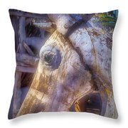 Old Wooden Horse Head Throw Pillow