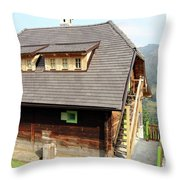 Old Wooden House On Mountain Throw Pillow