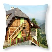 Old Wooden House On Mountain Landscape Throw Pillow
