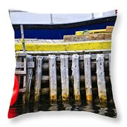 Old Wooden Pier In Newfoundland Throw Pillow