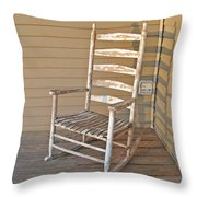 Old  Wooden  Rocking  Chair Throw Pillow