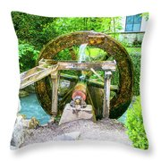 Old Wooden Water Wheel  Throw Pillow