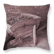 Old Wooden Wheelbarrow Throw Pillow