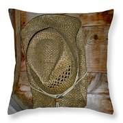 Old Work Hat Throw Pillow