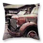 Old Work Trucks Throw Pillow
