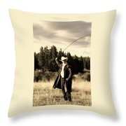 Old World Cowboy Throw Pillow