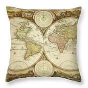 Old World Map On Gold Throw Pillow