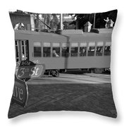 Old Ybor City Trolley Throw Pillow