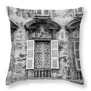 Old Yellow Building With Lace Curtain In Nice, France, Black And Throw Pillow