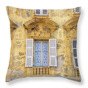 Old Yellow Building With Lace Curtain In Nice, France Throw Pillow