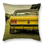 Old Yellow Mustang Rear View In Field Throw Pillow