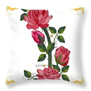 Olde Rose Pink With Leaves And Tendrils Throw Pillow