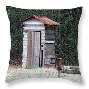 Oldtime Outhouse - Digital Art Throw Pillow