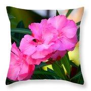 Oleander Blooming Throw Pillow