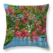 Oleander On Melbourne Harbor In Florida Throw Pillow