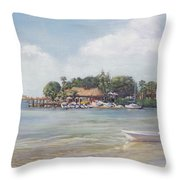 O' Leary's Tiki Bar And Grill On Sarasota Bayfront Throw Pillow
