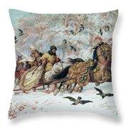 Olenka And Kmicic In A Sleigh, 1885 Throw Pillow