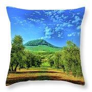 Olive Grove Spain Throw Pillow