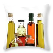Olive Oil,salad Dressing And Vinegar Throw Pillow