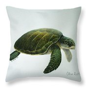 Olive Ridley Turtle Throw Pillow