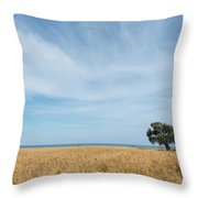 Olive Tree On The Wheat Field  Throw Pillow