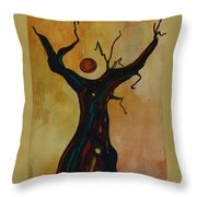 Olive Tree Woman Throw Pillow