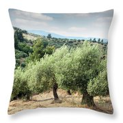 Olive Trees Hill Throw Pillow
