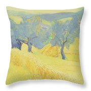 Olive Trees In Tuscany Throw Pillow by Antonio Ciccone