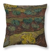 Olive Trees On A Hillside Saint Remy De Provence  November   December 1889 Vincent Van Gogh 1853  Throw Pillow