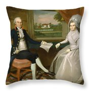 Oliver And Abigail Wolcott Ellsworth 1801 Throw Pillow