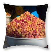 Olives For Sale In Market, Essaouira Throw Pillow