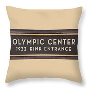 Olympic Center 1932 Rink Entrance Throw Pillow