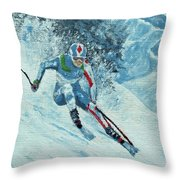 Olympic Downhill Skier Throw Pillow