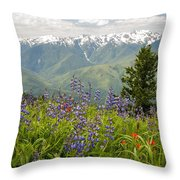 Olympic Mountain Wildflowers Throw Pillow