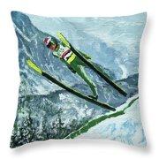 Olympic Ski Jumper Throw Pillow