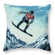 Olympic Snowboarder Throw Pillow