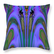 Olympic Torch And Fireworks Fractal 162 Throw Pillow
