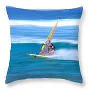 On A Calm Blue Ocean Throw Pillow