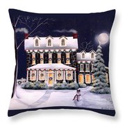 On A Cold Winter Evening Throw Pillow