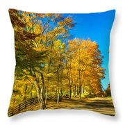 On A Country Road 4 - Paint Throw Pillow