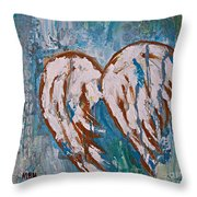 On Angel Wings Throw Pillow