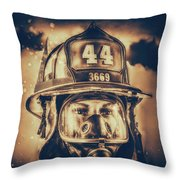 On Duty And Into Fire_dramatic Throw Pillow